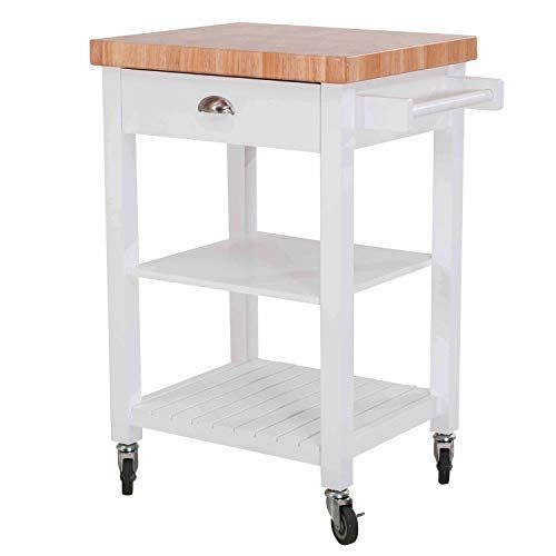 HomCom Folding Rolling Trolley Kitchen Cart Table Island Mahogany