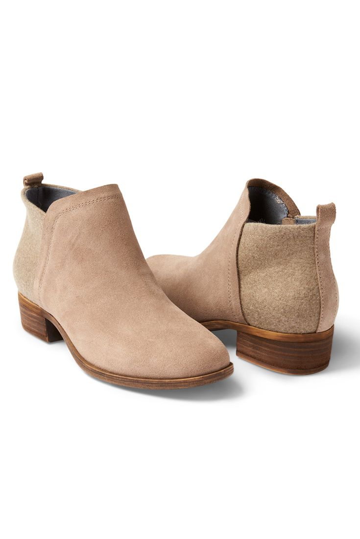 With a short heel and a blend of suede and wool, the TOMS Deia Bootie is a versatile addition to your boot collection.  They're cute, comfortable and easy to slip on and off!