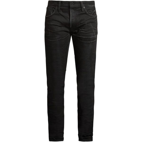Mastercraft Union Slim tapered-leg crinkled jeans ($182) ❤ liked on Polyvore featuring men's fashion, men's clothing, men's jeans, men, bottoms, jeans, pants, black, mens torn jeans and mens slim cut jeans