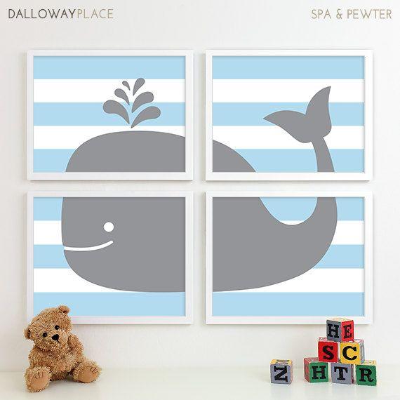 Boy Bathroom Art Print Whale Bathroom Art by DallowayPlaceKids