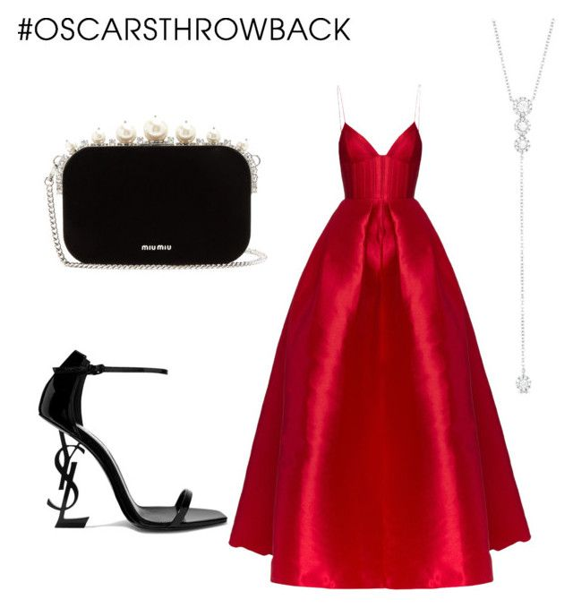 """""""oscar"""" by geopaganeli on Polyvore featuring Alex Perry, Yves Saint Laurent, Miu Miu, Anne Sisteron, redcarpetstyle and OscarsThrowback"""