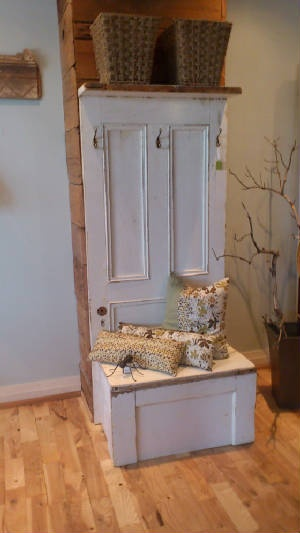 Old Doors Hall Tree   Modify With Storage Under Seat