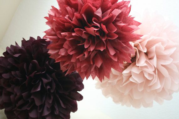 Love Letter to Mauve ... 3 tissue paper poms // wedding decorations // diy // nursery decor // birthday // party decorations on Etsy, $15.00