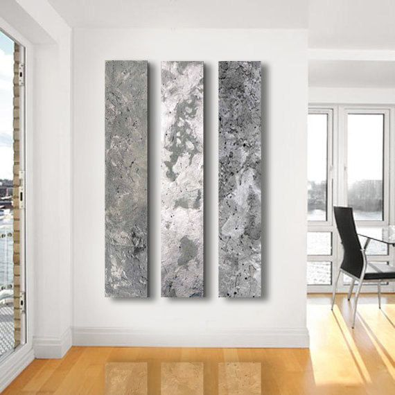 Metallic abstract paintings 3 panel custom abstract for Silver wall art