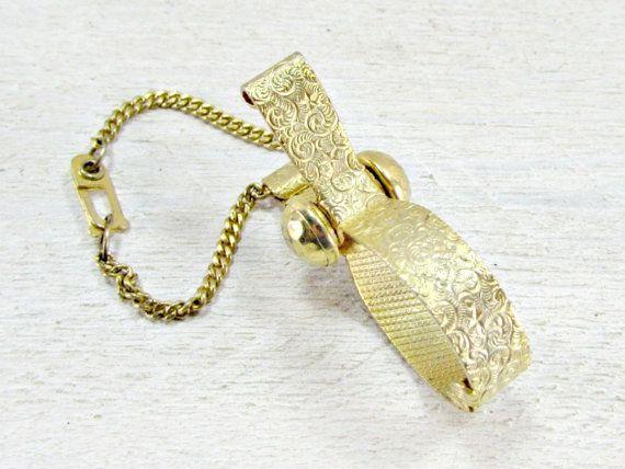 Vintage Gold Glove Holder, Gold Spiral Glove Clip, Gold Glove Keeper, Gold Purse Clip, 1950s Formal Wedding Bridal Prom Fashion Accessory by RedGarnetVintage