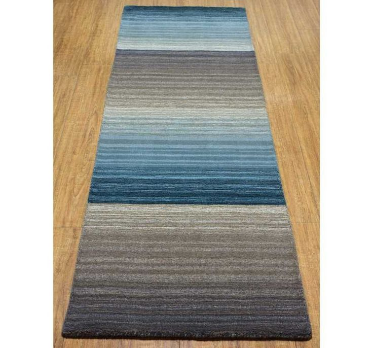 Miko Designs - Stripes Blue / Taupe Hall Runner Rugs | Modern Rugs