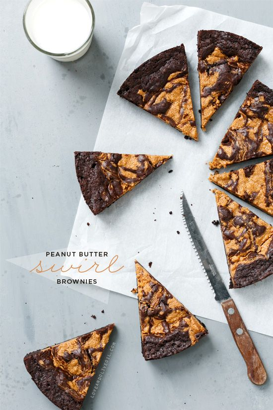 Peanut Butter Swirl Brownies / Love and Olive Oil