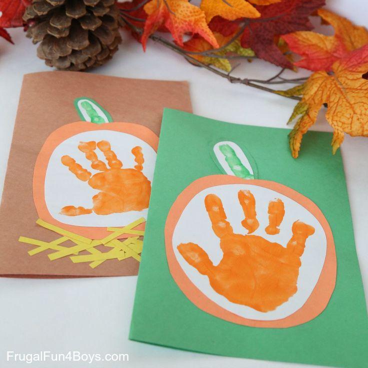 Little Pumpkin Fall Handprint Cards - Keepsake idea!