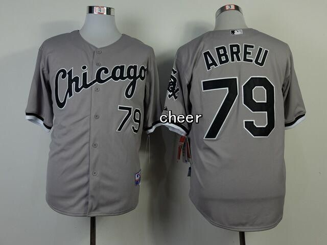 Men's MLB Chicago White Sox #79 Abreu Grey Jersey