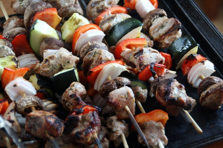 Pork Kabobs with Chopped Salad - Feel free to share on Pinterest