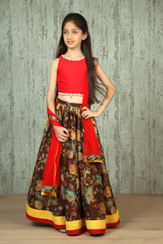 Chanderi digital print ghagra with silk choli embellished with mirror work from #Benzerworld #Benzer #Kidswear