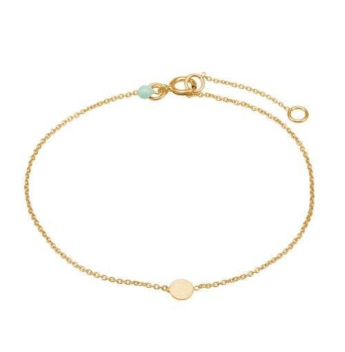 Bracelet, coin, mint dot, gold plated sterling silver