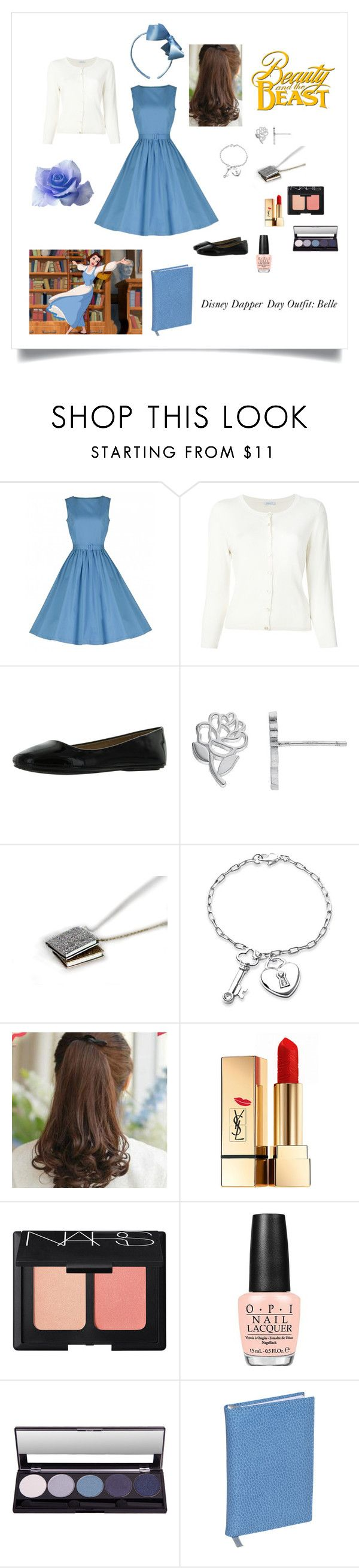 """Disney Dapper Day Outfit: Belle"" by belle-lupin ❤ liked on Polyvore featuring P.A.R.O.S.H., Disney, Bling Jewelry, Pin Show, Yves Saint Laurent, NARS Cosmetics, OPI and Budd Leather"
