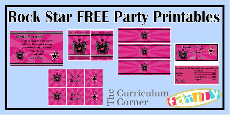 "Freebie pink rock star girl party printables from Spencerville Junction.  Includes thank you card, backstage passes, water bottle labels, candy bar wrappers and 2"" circles.  All free from The Curriculum Corner Family!"