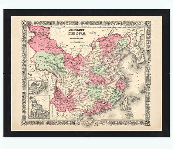 Old Map of China 1865 Asia Antique map    This is a reproduction vintage map. The Map is approximately 18,0 x 23,5 inches.  The map is printed on