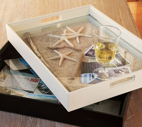 surf and sand coffee table tray... cute DIY!