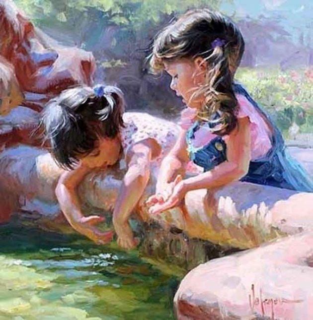 children in paintings | Children paintings by Vladimir Volegov (16) - Xaxor