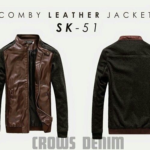 Jaket comby leather  []  bahan cutton fleece+kulit [] ready stock [] SMS/WA 085701111308 [] BBM D25D521D