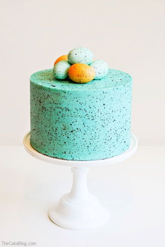 DIY Speckled Robins Egg Cake  | Carrie Sellman for TheCakeBlog.com