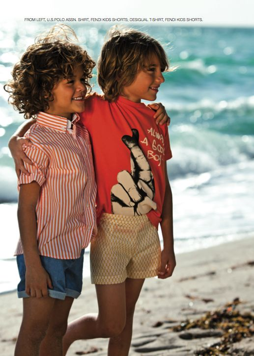 From our editorial - SURFIN'USA Photos: Zhanna Romashka Stylist: Only Stylish People From left: U.S.POLO ASSN. shirt, Fendi Kids shorts; Desigual t-shirt, Fendi Kids shorts. #surfin #usa #uspoloassn #shirt #fendi #kids #shorts #desigual #tshirt @Fendi Huang @Desigual @U.S. Polo Assn.