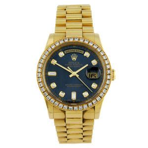 LOT:280 | ROLEX - a gentleman's 18ct yellow gold Oyster Perpetual Day-Date bracelet watch.