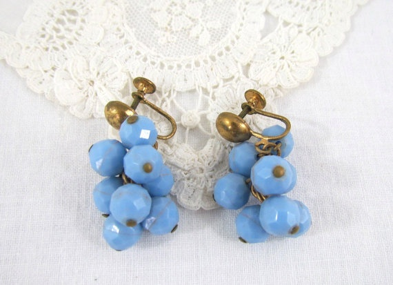 1940's Earrings in Blue Plastic Bead Dangle by VintagePolkaDotcom, #vintage #jewelry: 1940S Jewelry
