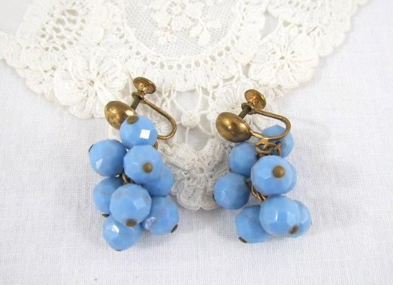 1940's Earrings in Blue Plastic Bead Dangle by VintagePolkaDotcom, #vintage #jewelry
