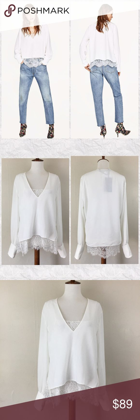 """Zara Layered Lace Long Sleeve V-Neck Blouse *Condition: NWT. There are a few faint smudges from in store try ons shown in photos.  *V-Neck with attached Lace Cami *Extra 1.5"""" to cami Strap that can be let out at buyer's discretion  *Long sleeve  *Outer shell: 100% Polyester  *Lining: 100% Polyamide  *Care: Machine wash  *Measurements are approx & taken lying flat *Sleeves: 25"""" *Bust: 40"""" *Shoulder to Hem of shell: 21"""" + 4.5"""" for Lace lining *Stored in non-smoking pet free home Zara Tops…"""