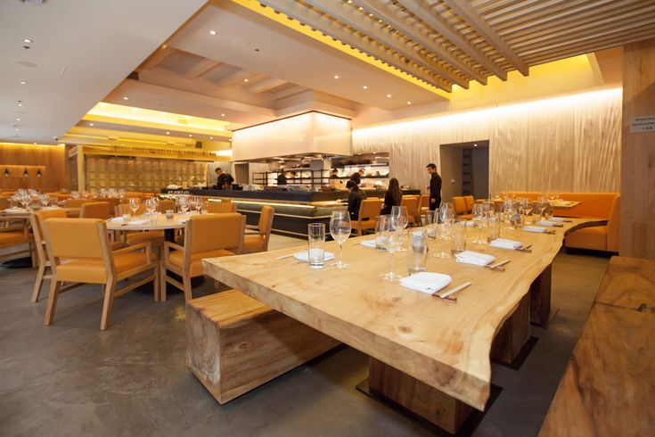 Roka Akor Restaurant, San Francisco. Matsys designed a fabric formed concrete wall upstairs and a CNC cut plyboo wall downstairs