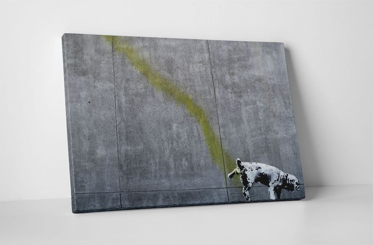 Banksy Pissing Dog Gallery Wrapped Canvas Print. Bonus Banksy Wall Decal!