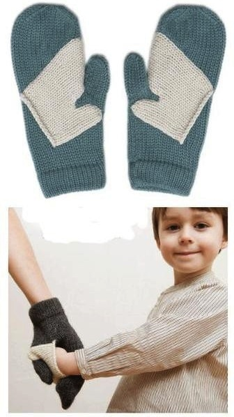 Mommy mittens! Winter handholding can be difficult; two sets of bulky gloves can mean that little hands slip out of reach. With this clever design, an adult and child can hold hands in comfort in one warm glove.