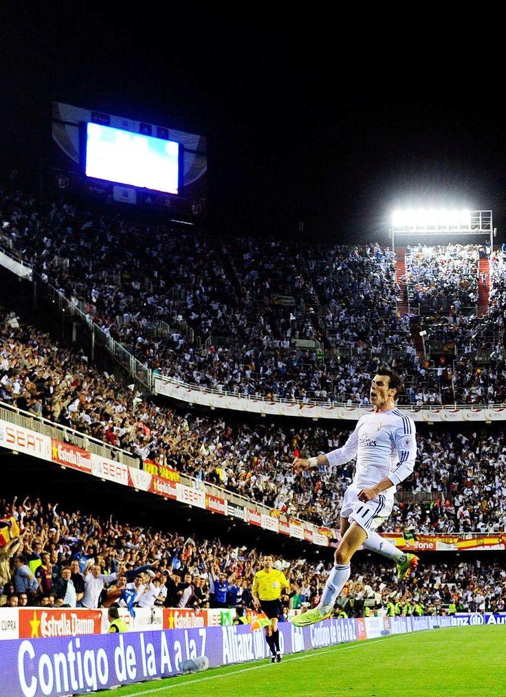 Gareth Bale celebrates his Copa Del Rey-winning goal against Barcelona.