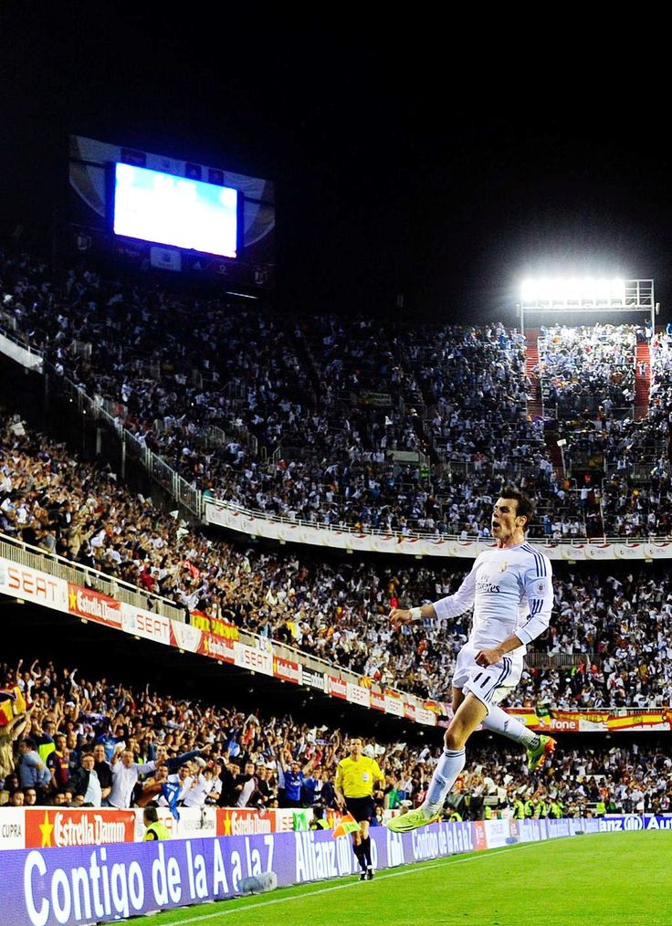 Gareth Bale celebrates his Copa Del Rey-winning goal against Barcelona.