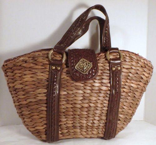 Coldwater Creek Raffia & Leather Trimmed Handbag Purse