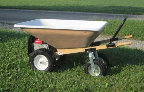 Our Motorized Wheelbarrow is Amish made holds 10 Cubic Ft   They are used for farms, gardens, and even concrete.  http://www.cottagecraftworks.com/american-garden-tools-motorized-wheel-wheelbarrow-cubic-p-1829.html