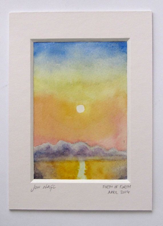 Crossing the Forth, 29 April 2014, original watercolour painting of seascape dawn with window mount on Etsy, £45.00