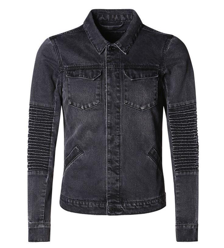 Men Denim Jackets Autumn/Winter Slim Overcoats Mens Jean Jackets black Washed Casual Outwear coat