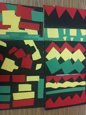 Kwanzaa Craft - Make a quilt square on the back of a large piece of construction paper, fold, fill with beans to create shaker to use while singing Kwanzaa songs.