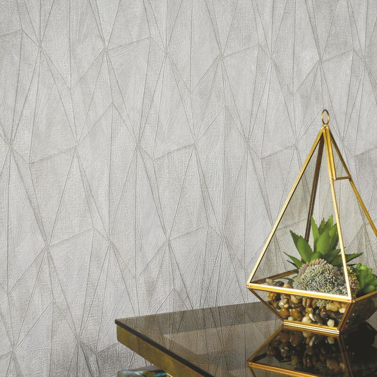 A stylish geometric wallpaper design in grey from Holden