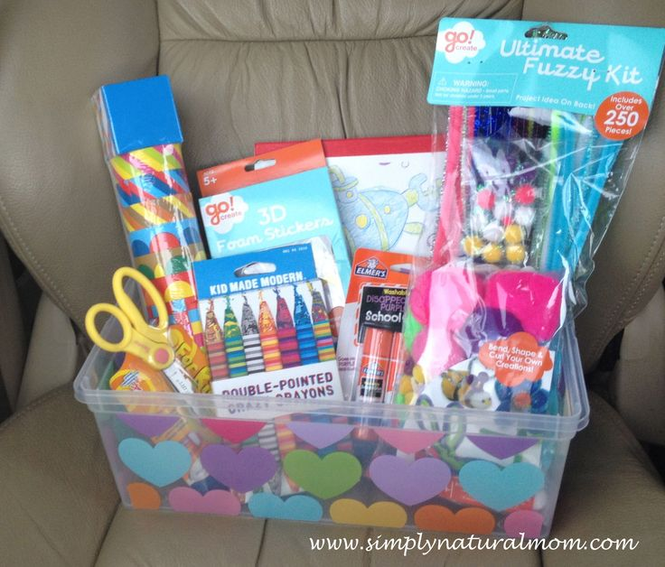 A busy box craft kit for a three-year-old birthday girl, in a reusable box.
