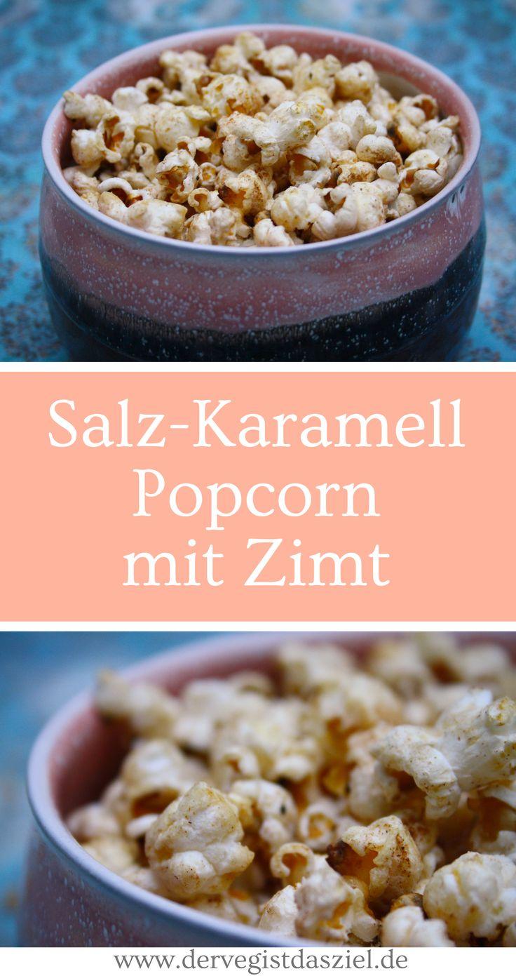 Salz-Karamell Popcorn mit Zimt, vegan, glutenfrei, Dessert