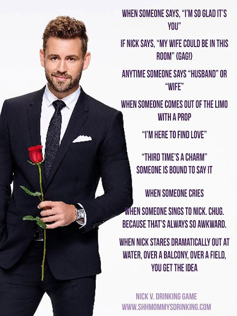 The Bachelor Nick Drinking Game: Night One The bachelor, drinking games, Nick V