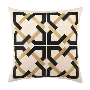 Geometric Tile Embroidered Pillow in Taupe by Trina Turk NEW