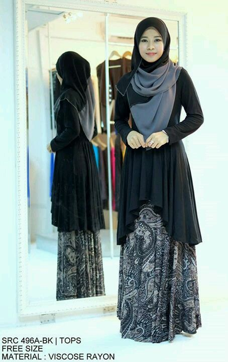 Grey and black hijab