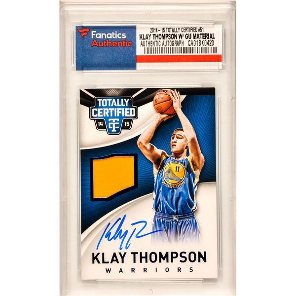 Klay Thompson Golden State Warriors Autographed 2014-15 Panini Totally Certified #51 Card Containing a Piece of Game Worn Material- Limited Edition of 99 - $279.99