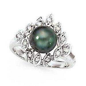 14KW DIAMOND and TAHITIAN PEARL RING D.21CTW. 8-9MM - DiPerla - Designers - Jewelry
