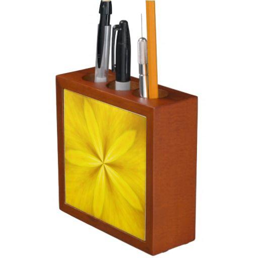 Desktop Pencil Oranizer Five Petals Yellow #zazzle #pencilbox #desktoporganizer #yellow #officegifts #flowers