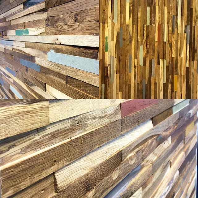 Our Eco-Friendly Fingerjoint Reclaimed Oak Wall Panels have arrived and look brilliant up in our #Belfast store!! If your looking for that quirky and unique wall feature, give your nearest store a shout! #thewoodenfloors #wood #reclaimed #ecofriendly #fingerjointoak #wallfeature #smoked #oiled #colouredstrips #funky #quirky #unique #different #standout #thewoodenfloorstore #glasgow #edinburgh #paisley #falkirk #thewoodenfloorcompany #belfast #lisburn