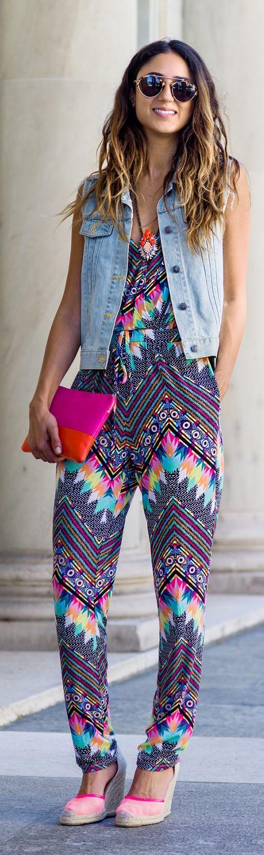 Mara Hoffman Multi Geometric Print Strappy Jumpsuit