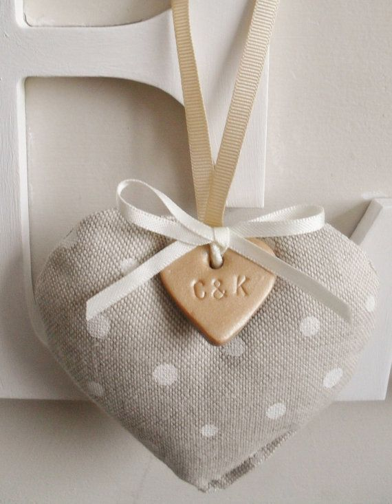 10 Wedding Favours Fabric And Clay Heart By Rubiesandgold 42 00